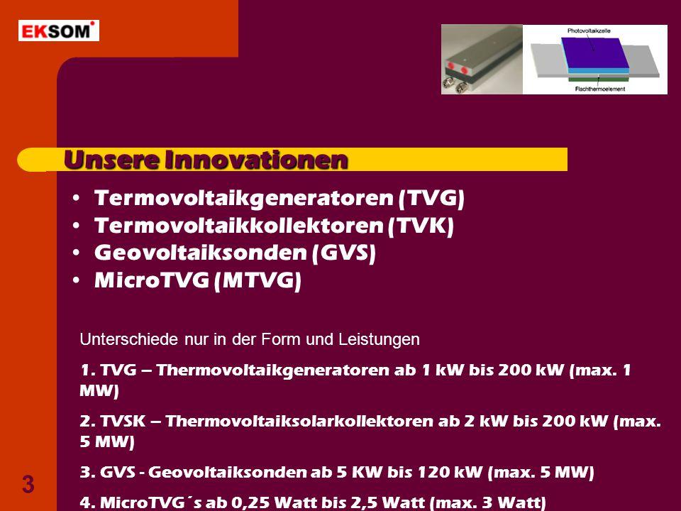 Unsere Innovationen Termovoltaikgeneratoren (TVG)