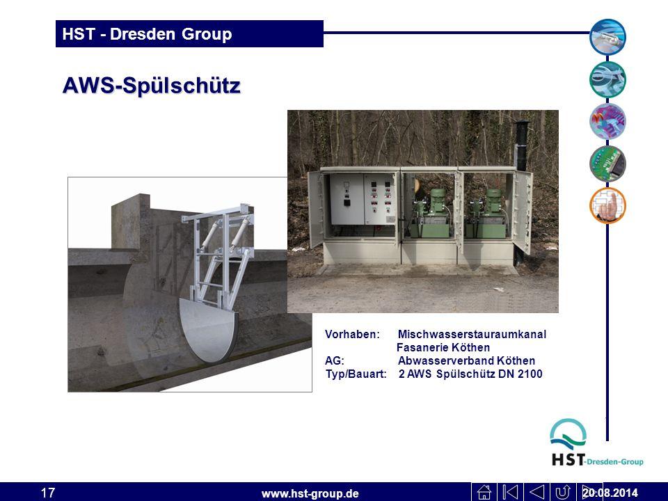 AWS-Spülschütz Vorhaben: Mischwasserstauraumkanal Fasanerie Köthen
