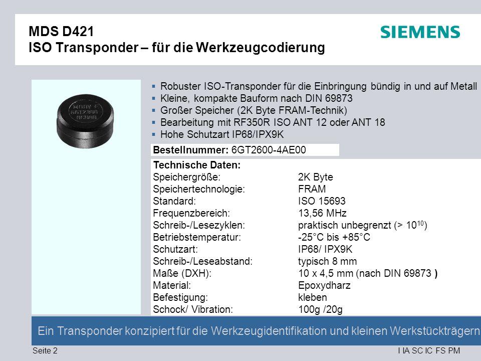 MDS D421 ISO Transponder – für die Werkzeugcodierung
