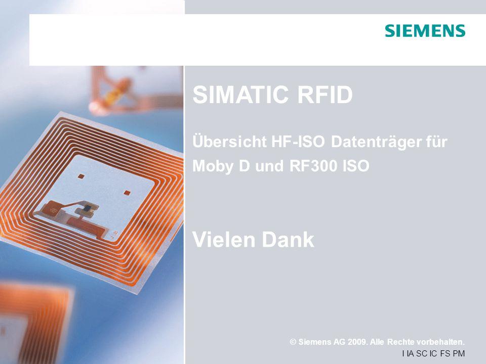 SIMATIC RFID Vielen Dank Übersicht HF-ISO Datenträger für