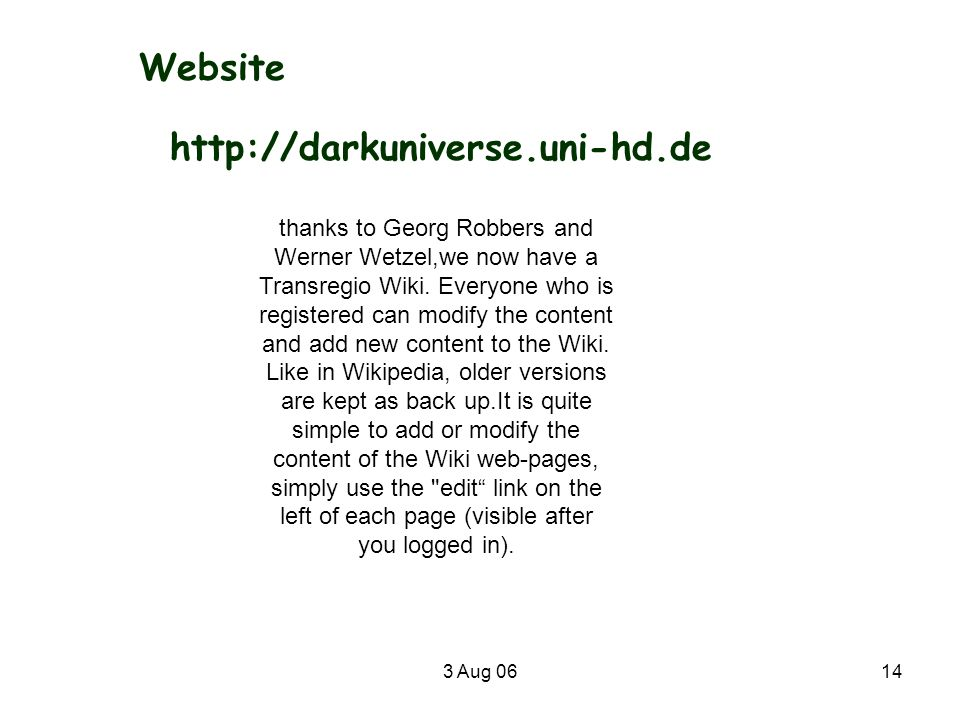 Website http://darkuniverse.uni-hd.de