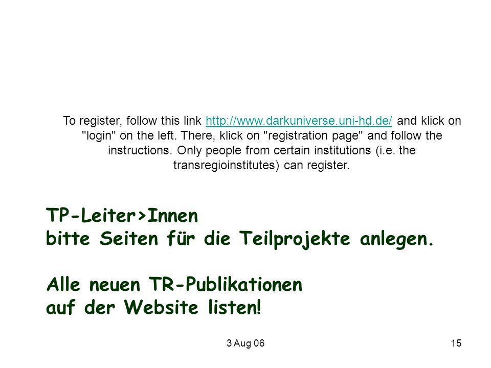 bitte Seiten für die Teilprojekte anlegen. Alle neuen TR-Publikationen