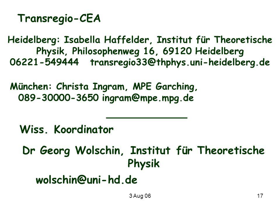 Dr Georg Wolschin, Institut für Theoretische Physik