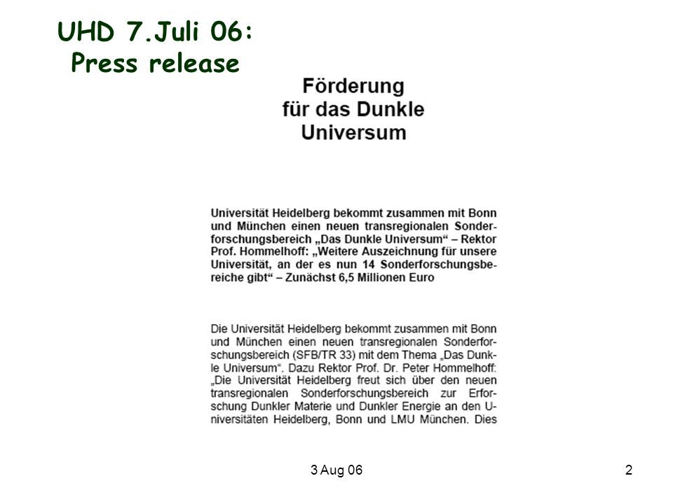 UHD 7.Juli 06: Press release