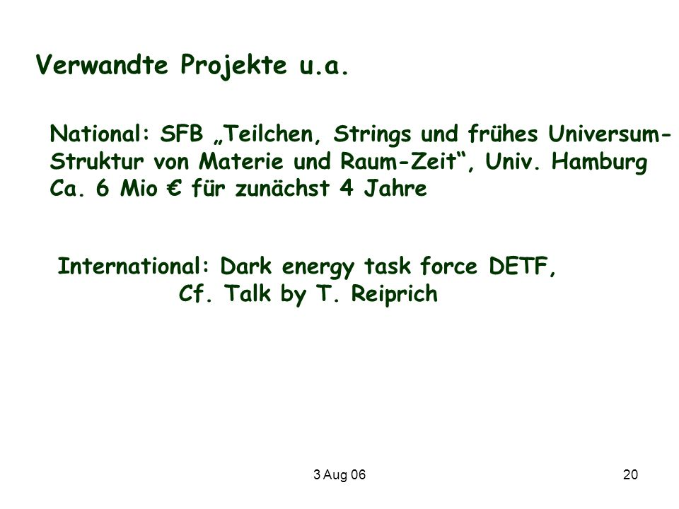 International: Dark energy task force DETF,