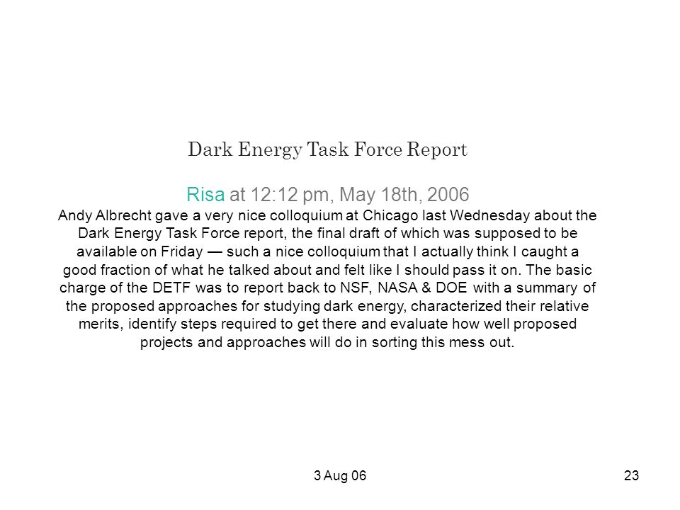 Dark Energy Task Force Report