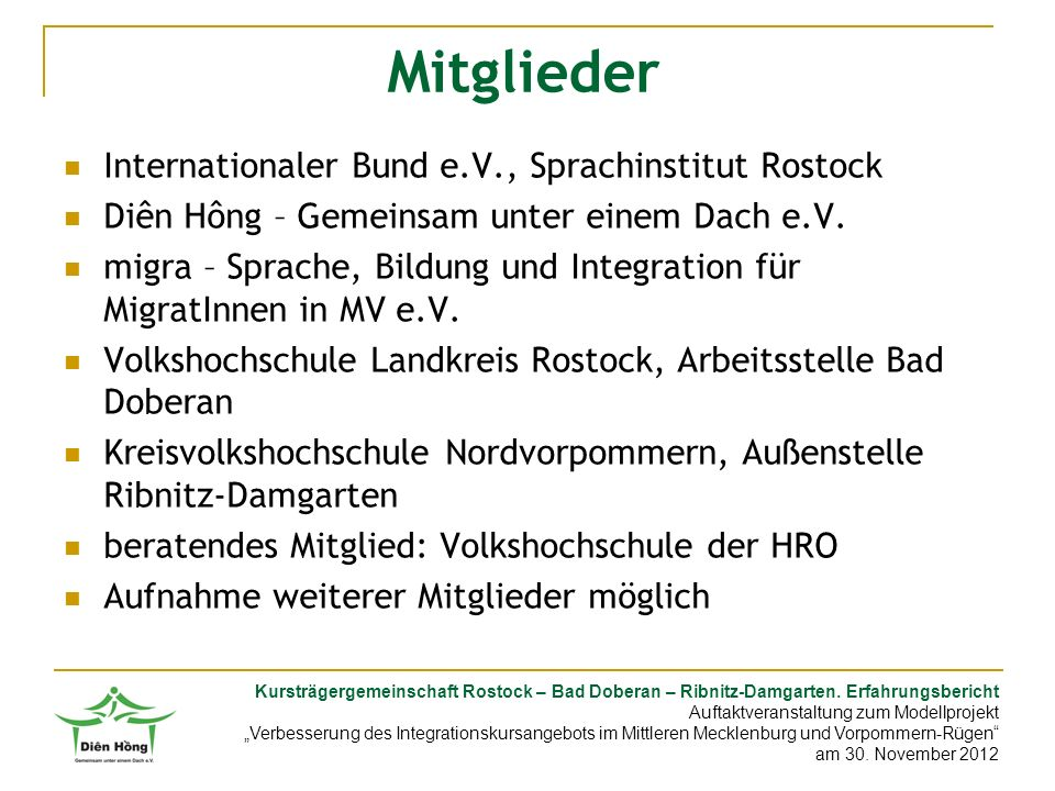 Mitglieder Internationaler Bund e.V., Sprachinstitut Rostock