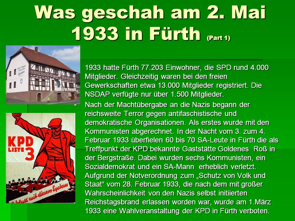 Was geschah am 2. Mai 1933 in Fürth (Part 1)