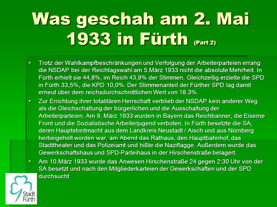 Was geschah am 2. Mai 1933 in Fürth (Part 2)