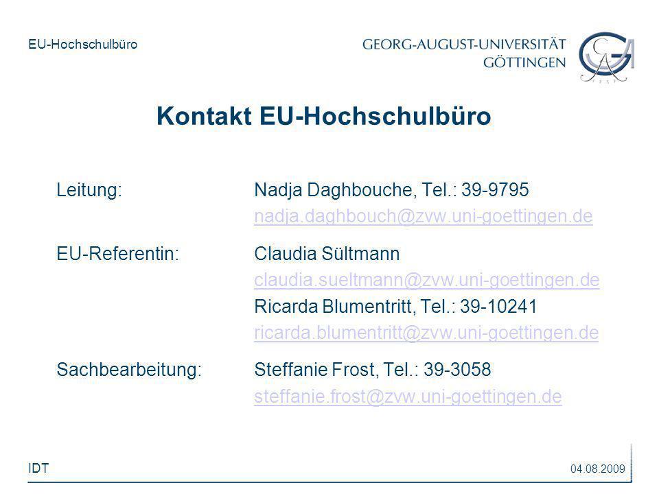 Kontakt EU-Hochschulbüro