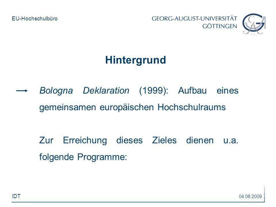 Hintergrund Bologna Deklaration (1999): Aufbau eines gemeinsamen europäischen Hochschulraums.