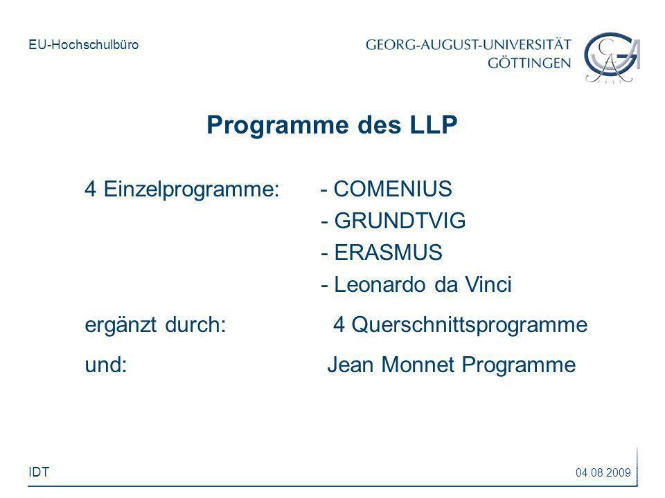 Programme des LLP 4 Einzelprogramme: - COMENIUS - GRUNDTVIG - ERASMUS