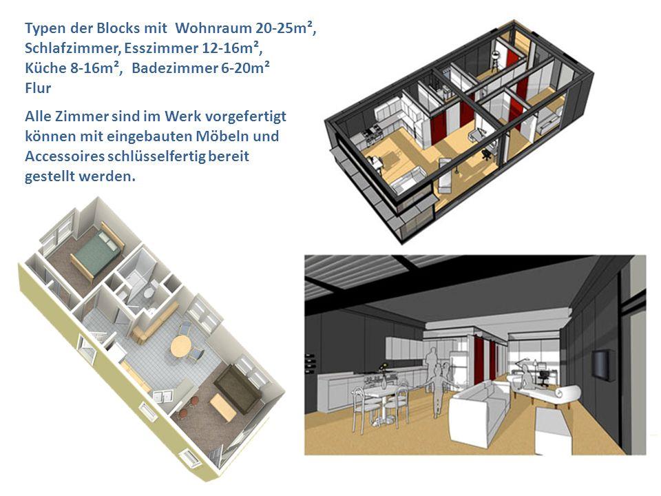 Typen der Blocks mit Wohnraum 20-25m²,