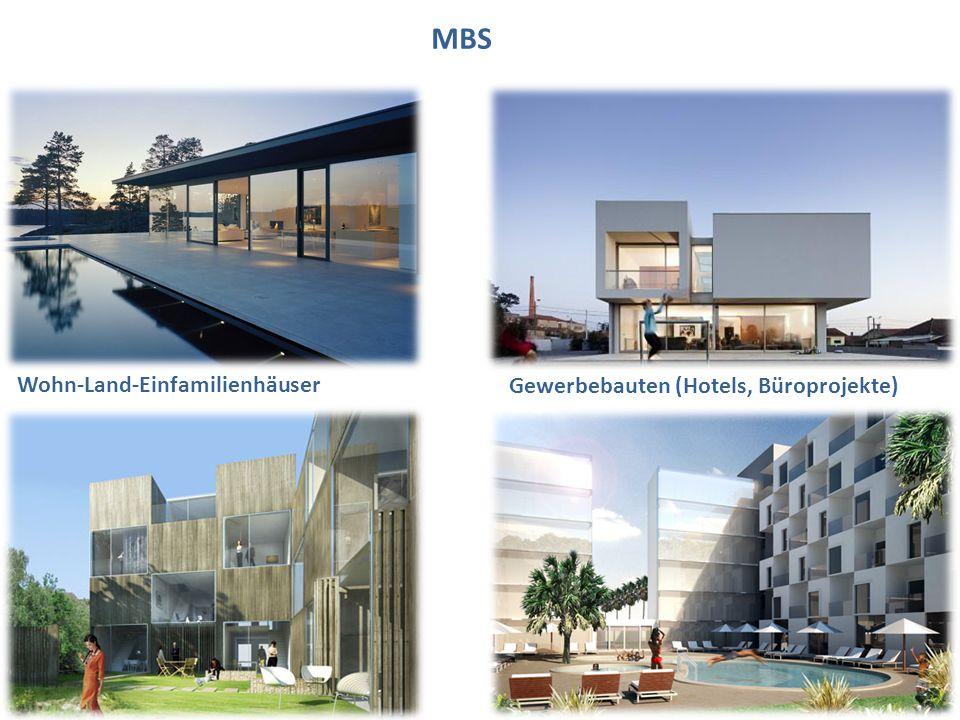 MBS Wohn-Land-Einfamilienhäuser Gewerbebauten (Hotels, Büroprojekte)