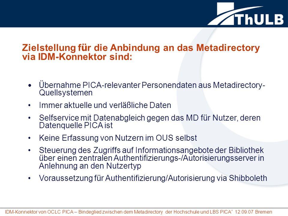 Zielstellung für die Anbindung an das Metadirectory via IDM-Konnektor sind:
