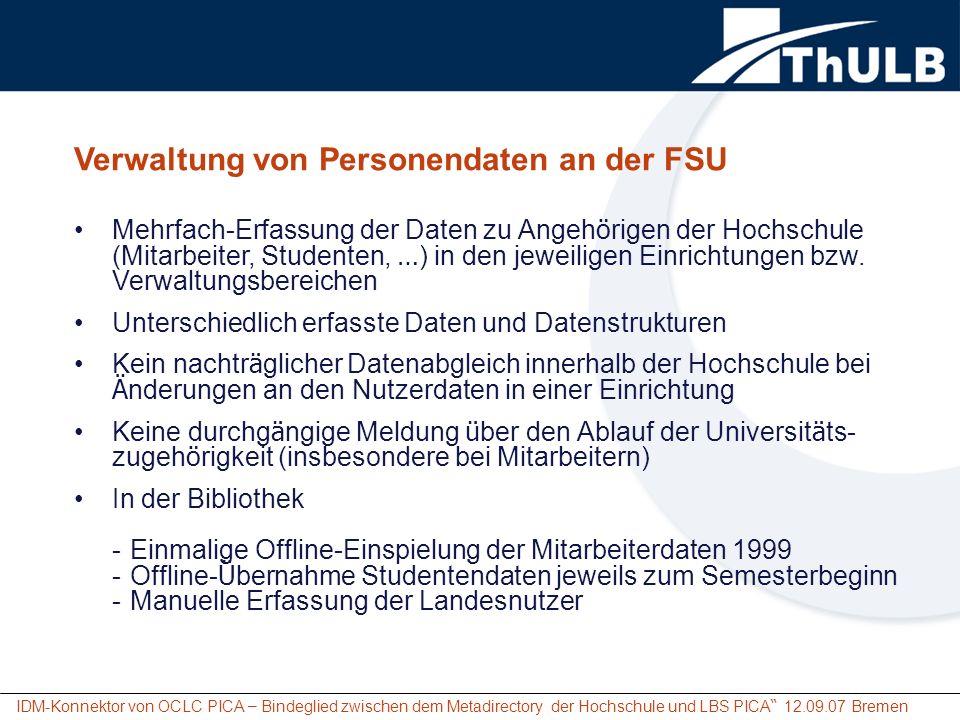 Verwaltung von Personendaten an der FSU