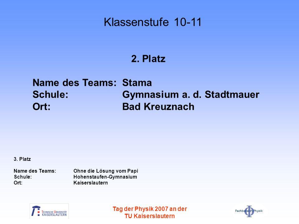 Klassenstufe 10-11 2. Platz Name des Teams: Stama
