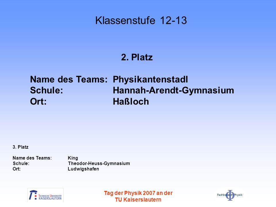Klassenstufe 12-13 2. Platz Name des Teams: Physikantenstadl