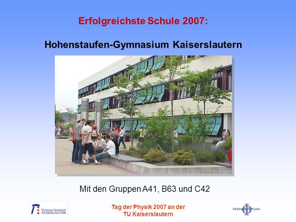 Erfolgreichste Schule 2007: Hohenstaufen-Gymnasium Kaiserslautern