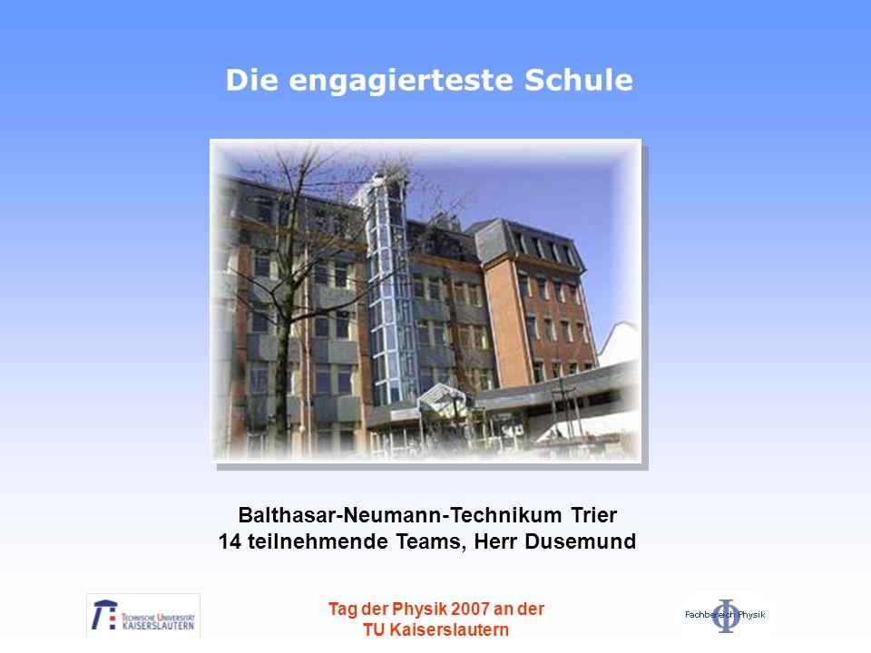 Balthasar-Neumann-Technikum Trier 14 teilnehmende Teams, Herr Dusemund