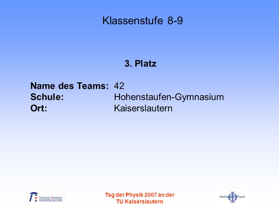 Klassenstufe 8-9 3. Platz Name des Teams: 42