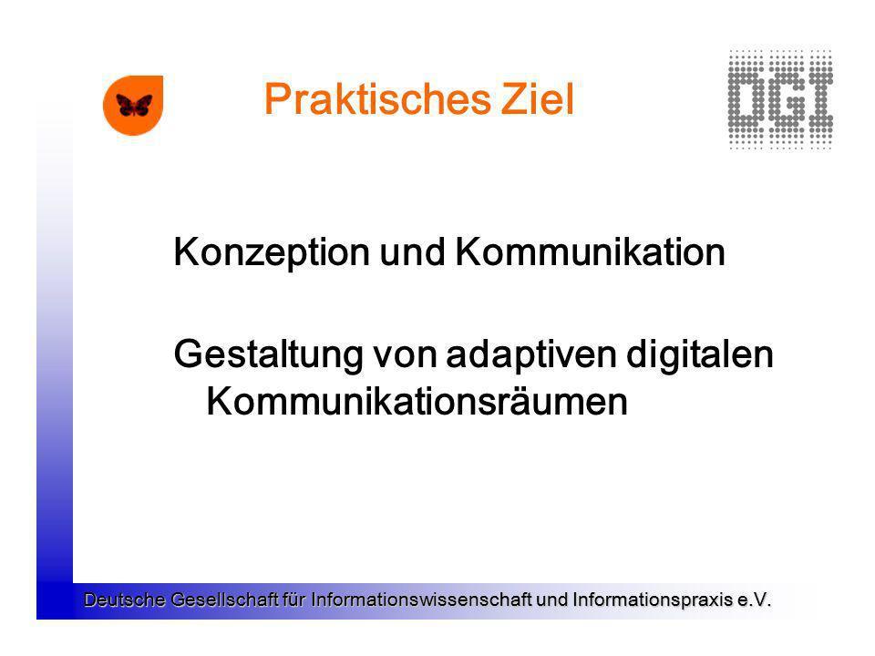 Praktisches Ziel Konzeption und Kommunikation Gestaltung von adaptiven digitalen Kommunikationsräumen
