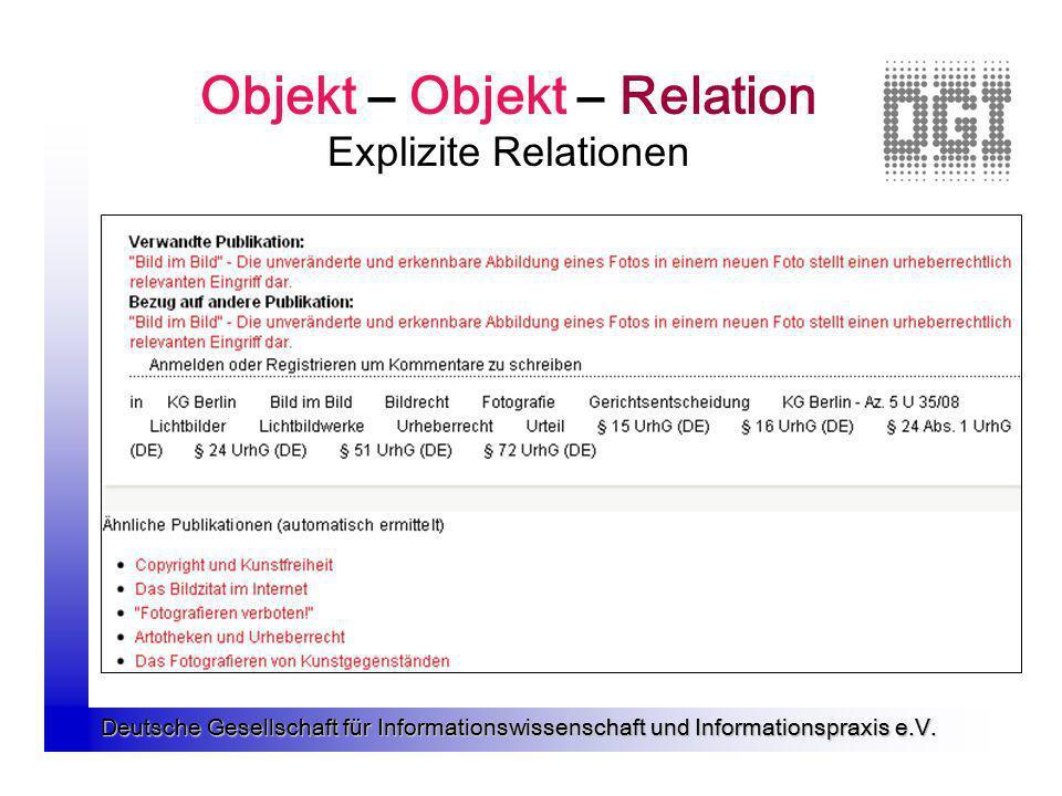Objekt – Objekt – Relation Explizite Relationen