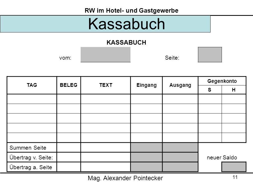 Kassabuch KASSABUCH vom: Seite: Summen Seite Übertrag v. Seite:
