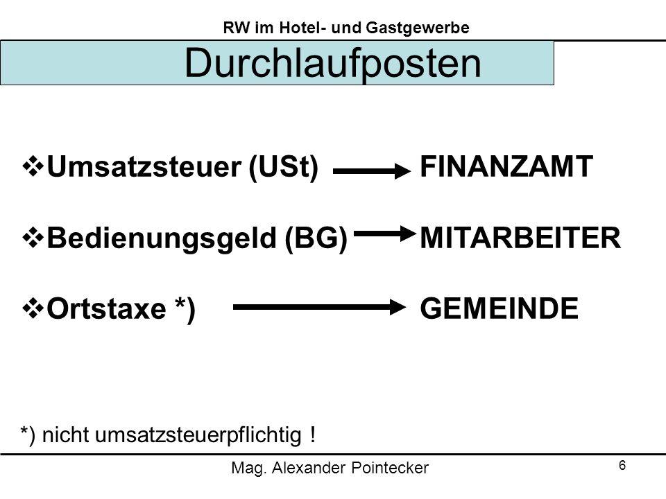 Durchlaufposten Umsatzsteuer (USt) FINANZAMT