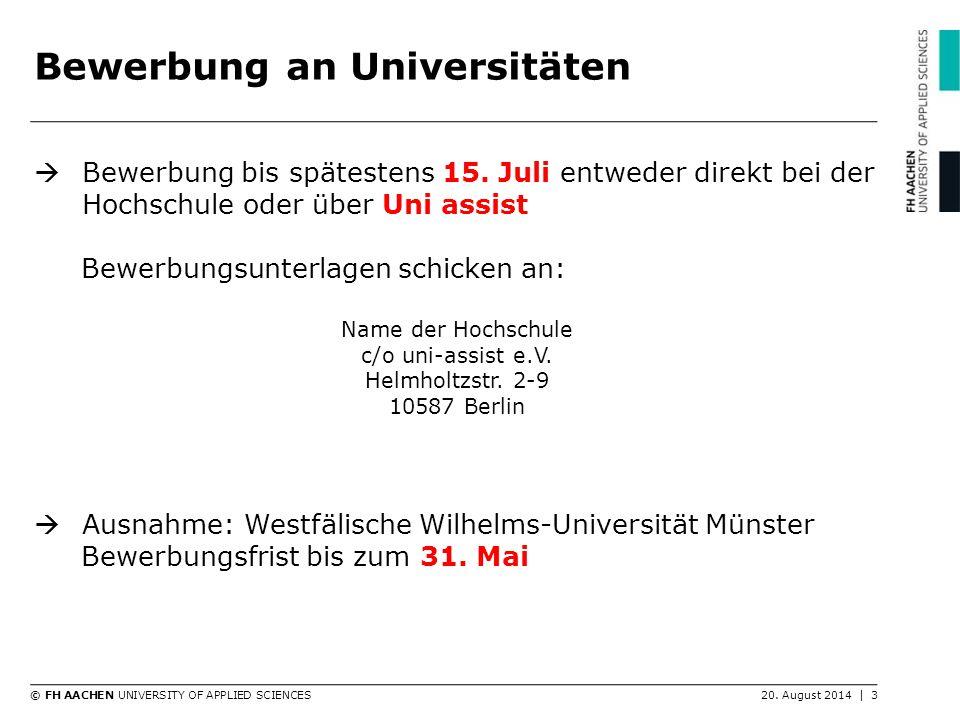 Bewerbung an Universitäten