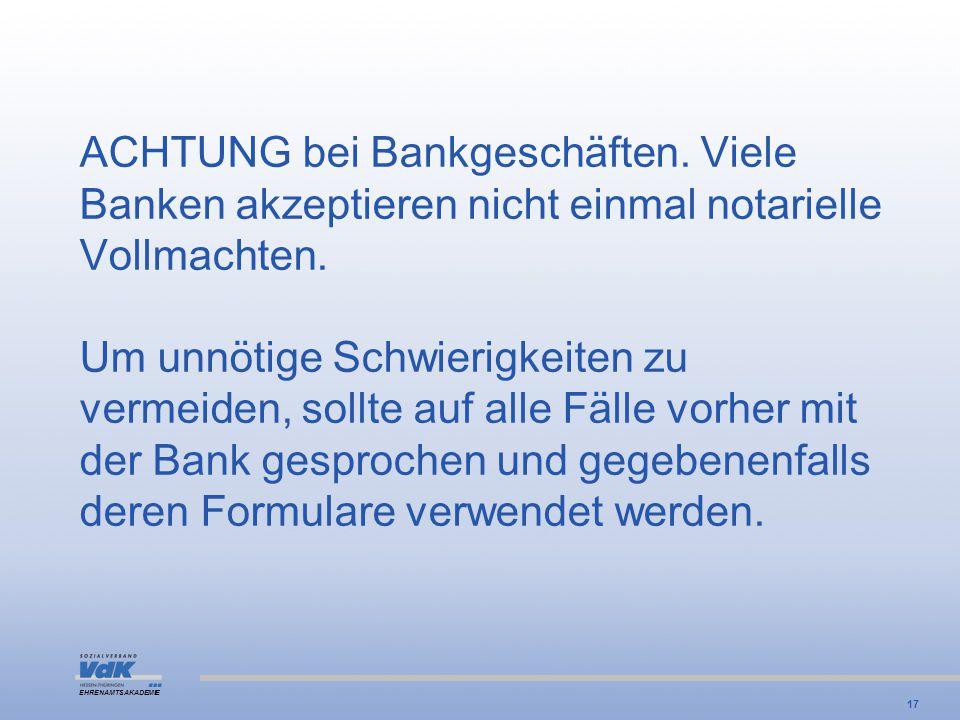 ACHTUNG bei Bankgeschäften