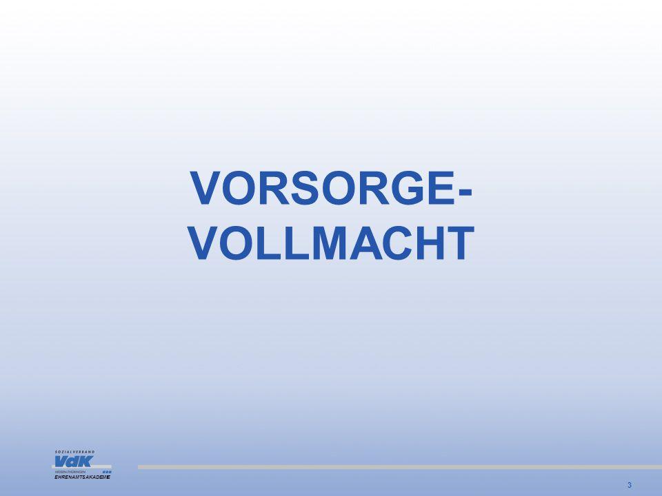 VORSORGE- VOLLMACHT