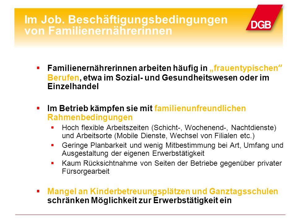 Im Job. Beschäftigungsbedingungen von Familienernährerinnen