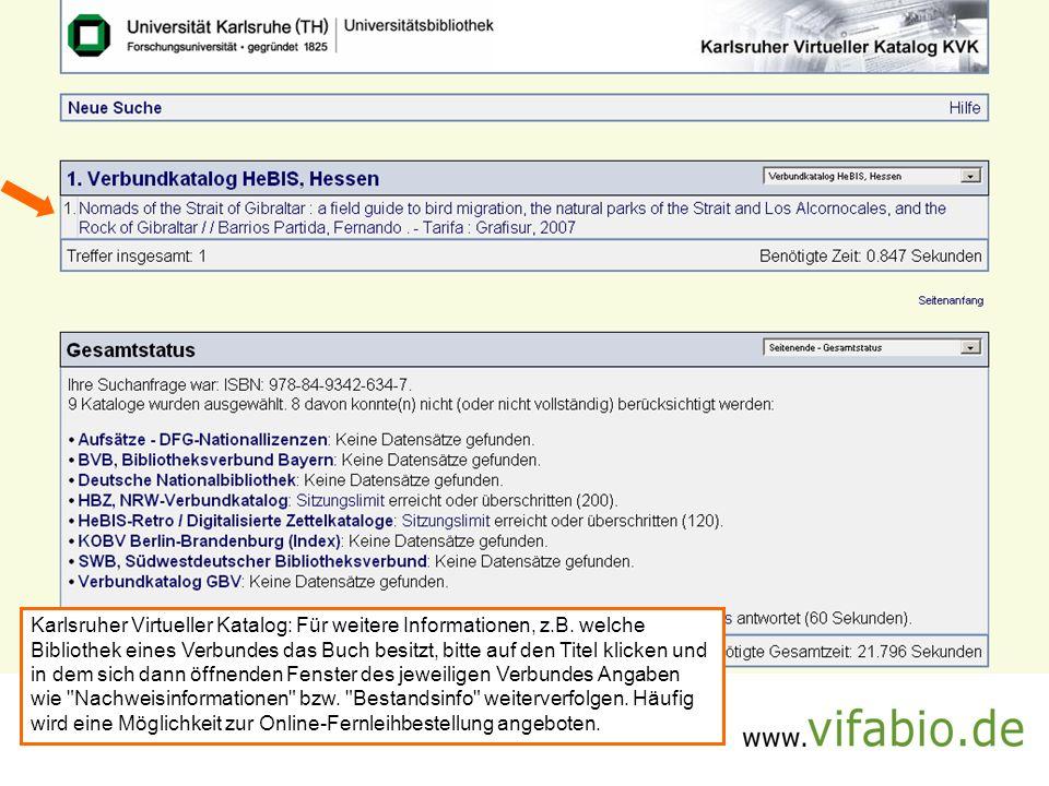 Karlsruher Virtueller Katalog: Für weitere Informationen, z. B