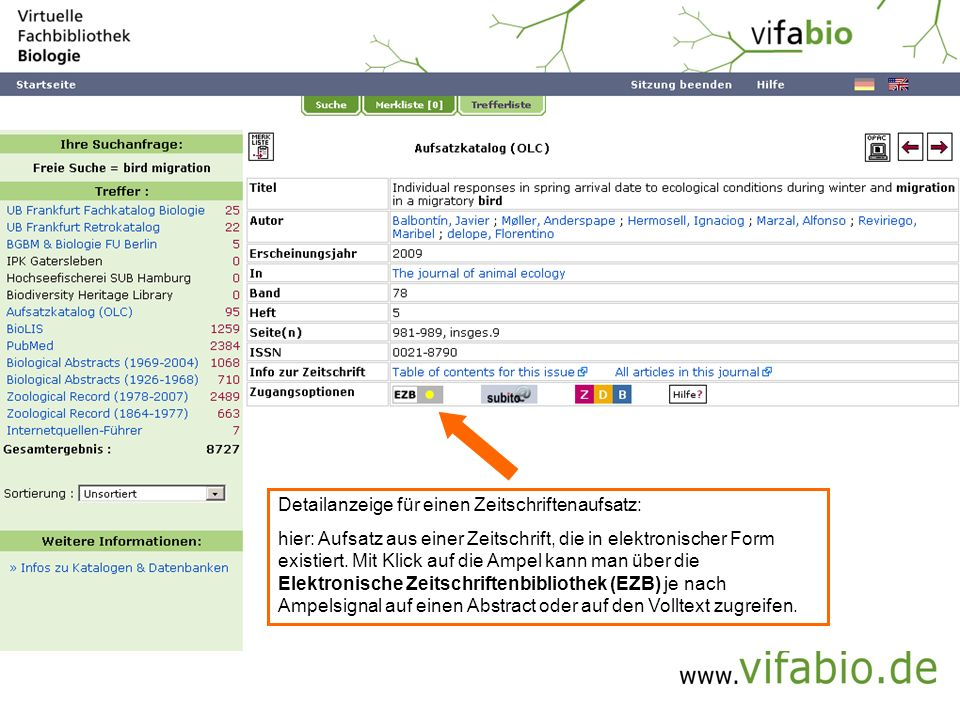 Einzeltreffer Artikel - EZB (Bildschirmfoto)