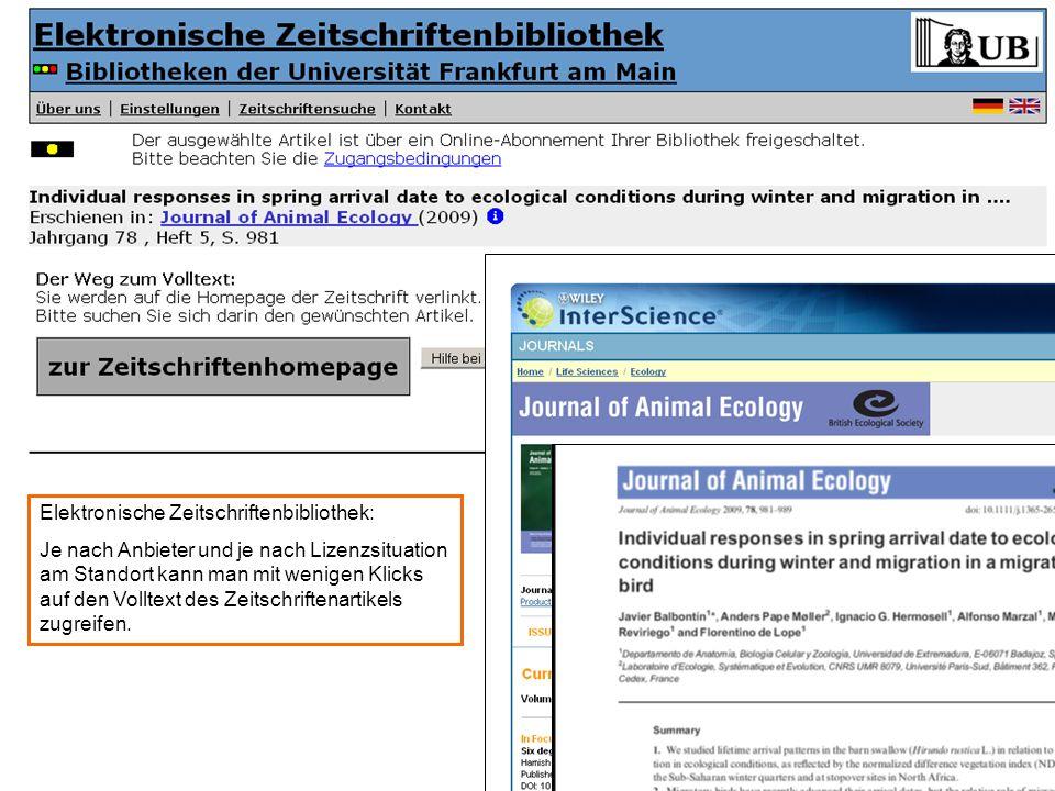 EZB-Verlinkung zum Volltext (Bildschirmfoto)