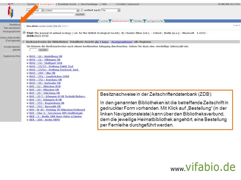 ZDB-Verlinkung (Bildschirmfoto)