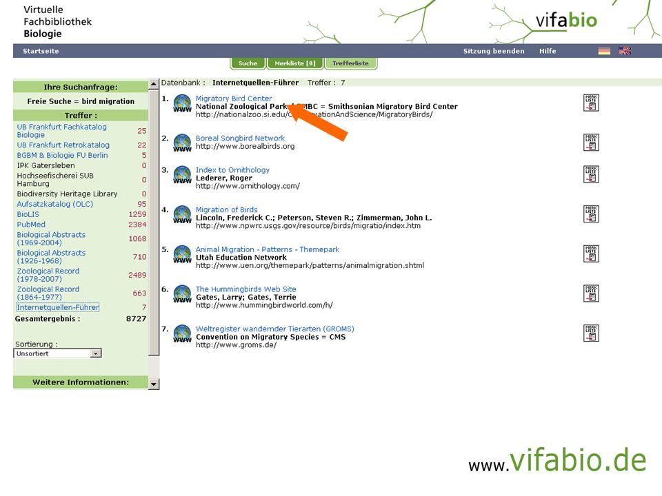 Kurztrefferliste -> eMedium (Bildschirmfoto)