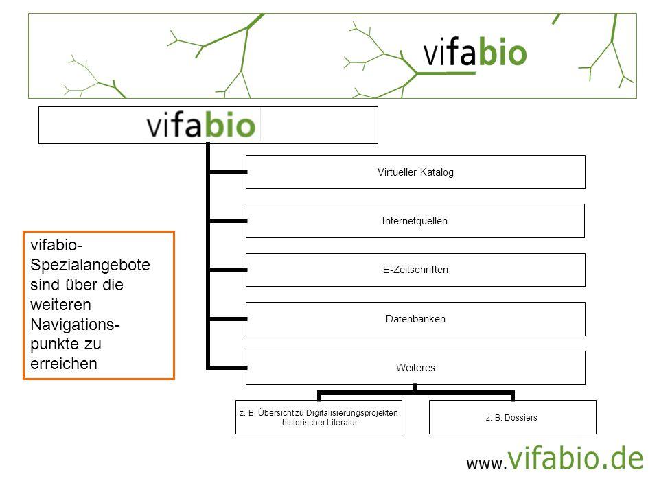 vifabio-Spezialangebote sind über die weiteren Navigations-punkte zu erreichen