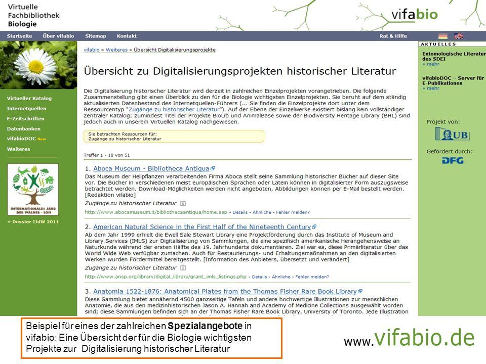 Beispiel für eines der zahlreichen Spezialangebote in vifabio: Eine Übersicht der für die Biologie wichtigsten Projekte zur Digitalisierung historischer Literatur
