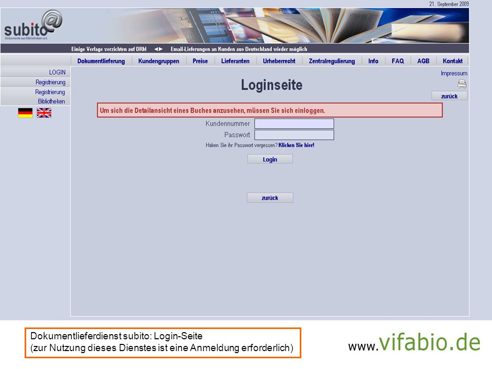 subito-LogIn (Bildschirmfoto)