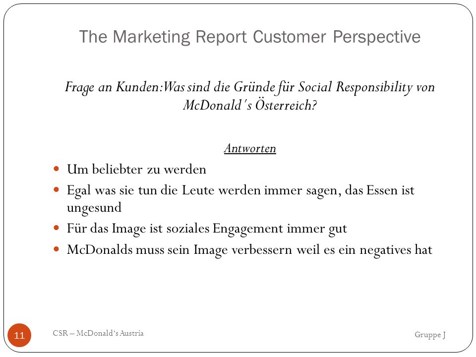 The Marketing Report Customer Perspective