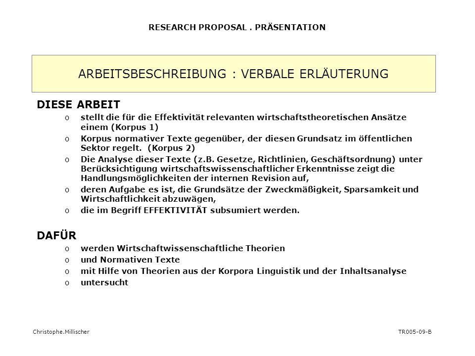 ARBEITSBESCHREIBUNG : VERBALE ERLÄUTERUNG