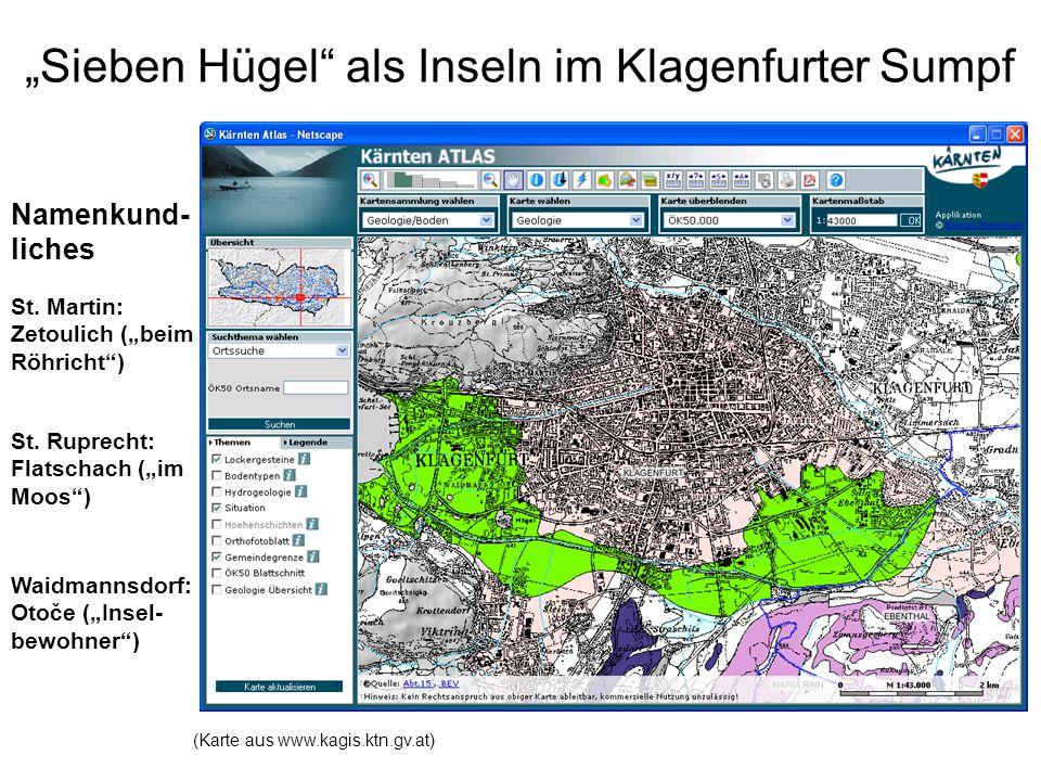 """""""Sieben Hügel als Inseln im Klagenfurter Sumpf"""