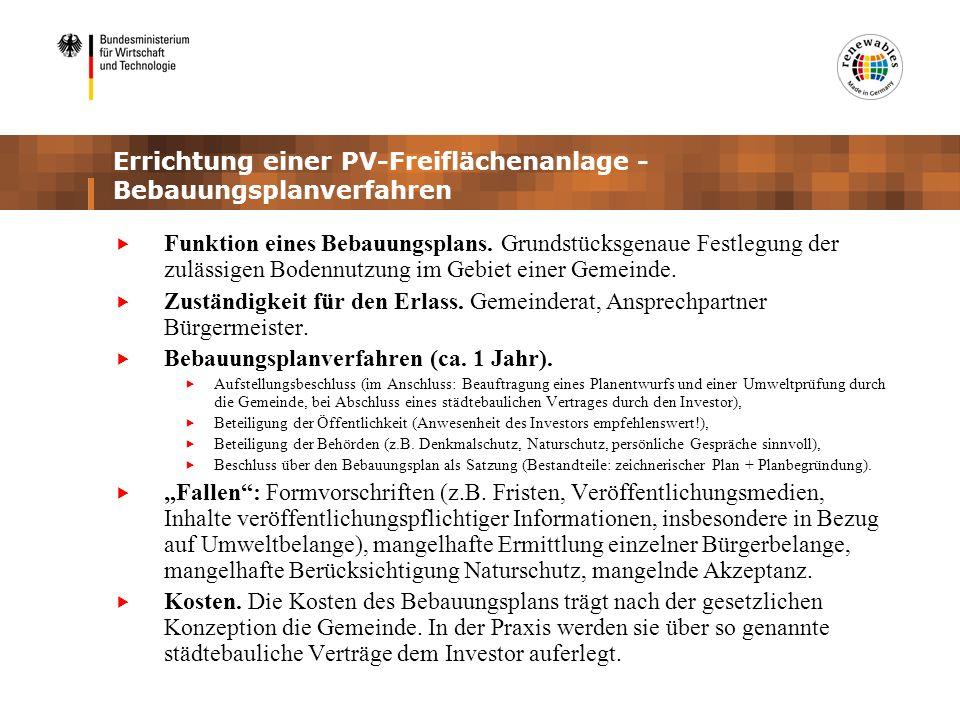 Errichtung einer PV-Freiflächenanlage - Bebauungsplanverfahren