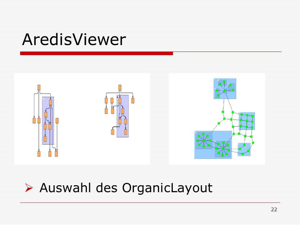 AredisViewer Auswahl des OrganicLayout