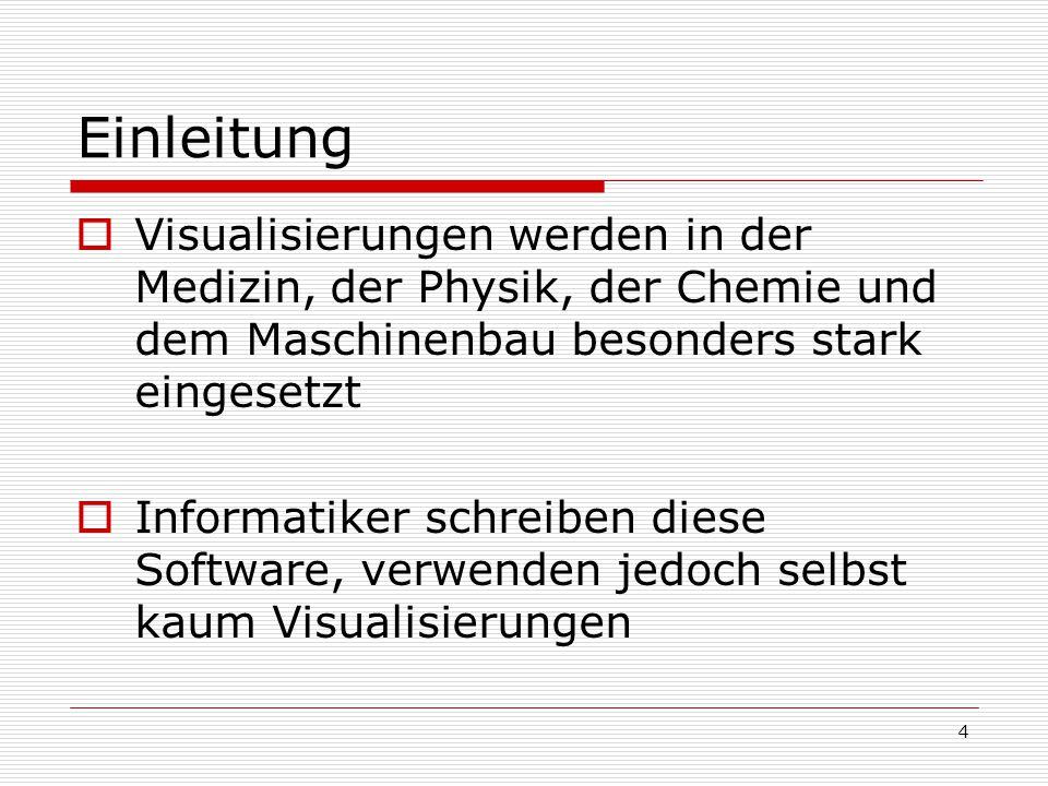 Einleitung Visualisierungen werden in der Medizin, der Physik, der Chemie und dem Maschinenbau besonders stark eingesetzt.