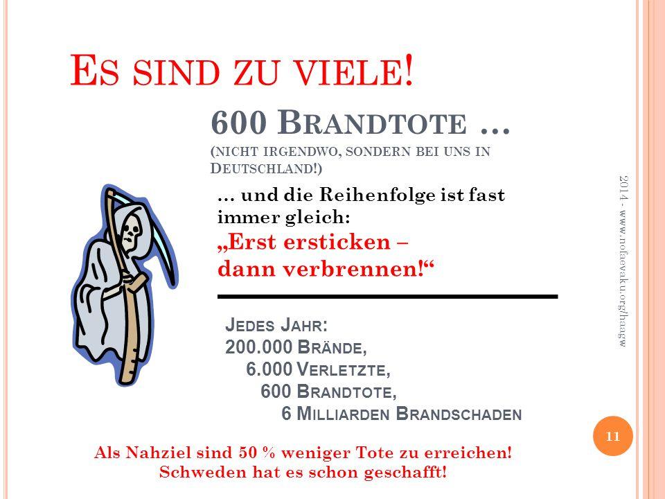 """Es sind zu viele! 600 Brandtote … (nicht irgendwo, sondern bei uns in Deutschland!) … und die Reihenfolge ist fast immer gleich: """"Erst ersticken –"""
