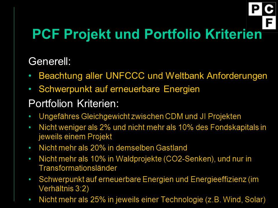 PCF Projekt und Portfolio Kriterien