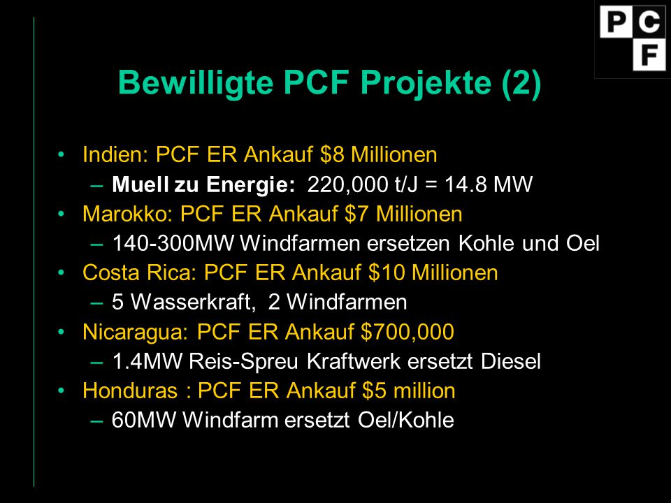 Bewilligte PCF Projekte (2)